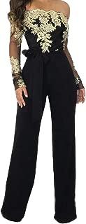 Women Ladies Casual Lace Off Shoulder Lace Up Jumpsuit Playsuit Wide Leg Romper