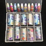 LimoLei Mi zong Designer Nail Logo foil for Nails Art Nail Star Paper (1 Box (10 Rolls,3.8 x 50 cm/roll))