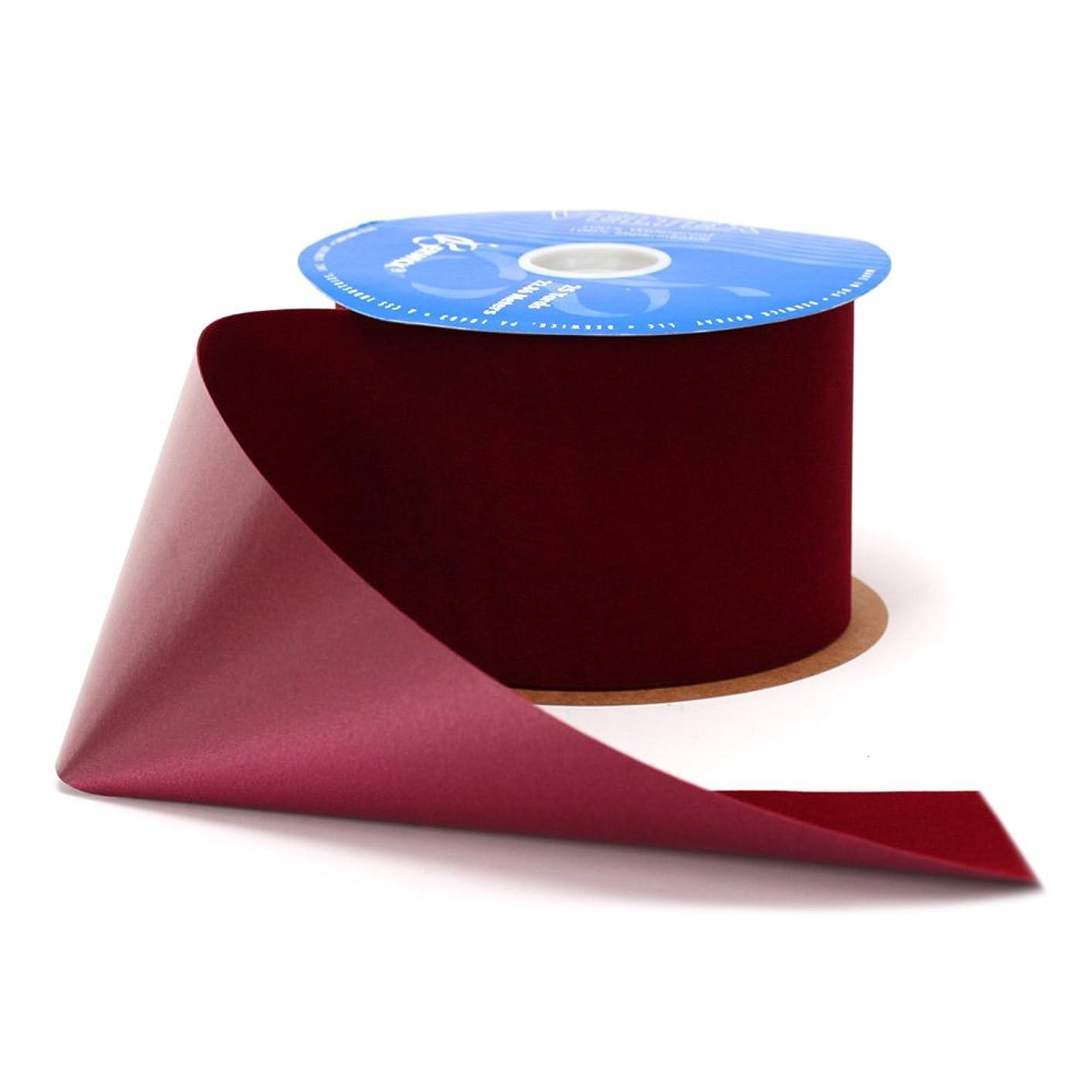 Berwick Veltex Flocked Poly Craft Ribbon, 4-Inch Wide by 25-Yard Spool, Burgundy