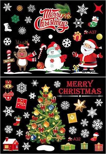 Kerstmis vensterafbeeldingen, Arespark 2 stuks Kerstmis sticker venster kerstdecoratie raamdecoratie kerstman sneeuwvlokken schattige elanden kerststicker A32 + A37