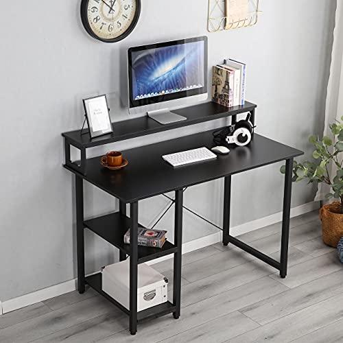 sogesfurniture Mesa de Ordenador Escritorios para Computadora con Una Estantería, Escritorio de Oficina Mesa de PC Mesa de Trabajo Mesa de Estudio de Madera y Acero, 120x90x56 cm, BHEU-HD-SD02-120