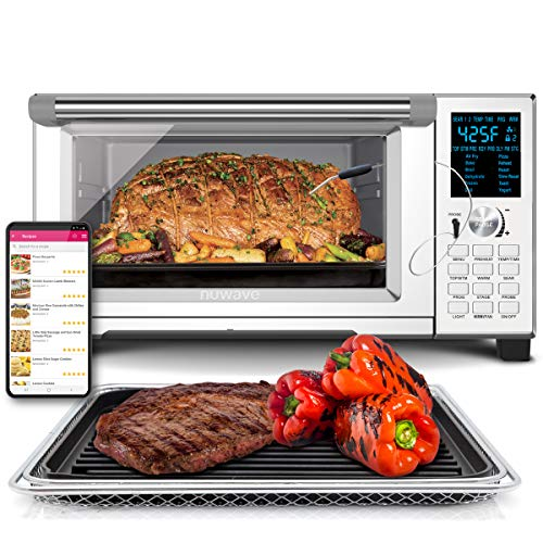 NuWave Bravo XL Convection Air Fryer Oven Grill 30-Quart 10-in-1; Temperature Probe; Grill/Griddle w Stainless Steel Rack; 60°F-500°F;10 LB Chicken, 13 in Pizza; Air Fry, Bake, Roast, Grill, Toast