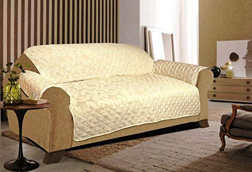 Funda acolchada para sofá de 3 plazas, color crema
