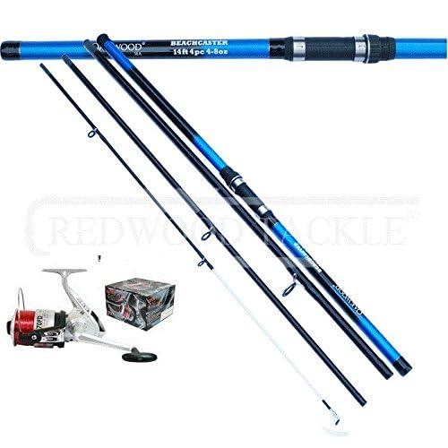 Oakwood 14 FT 4PC BEACHCASTER FISHING ROD   SILK 70 BEACH SEA REEL + LINE 6ef385889