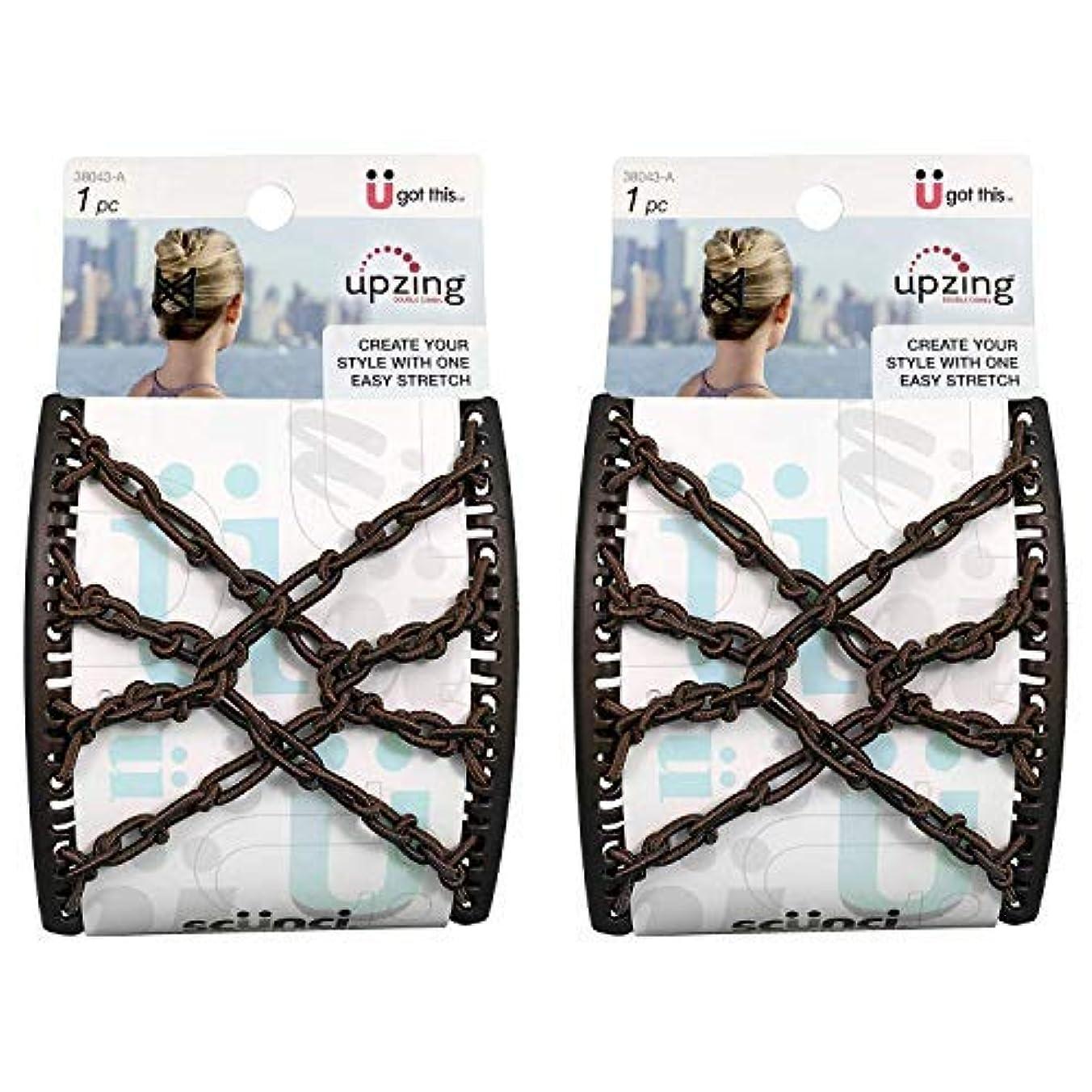 形式区別尊敬するScunci Braided Upzing Double Combs Large | Easy-Stretch, Assorted Colors | 2-Units [並行輸入品]