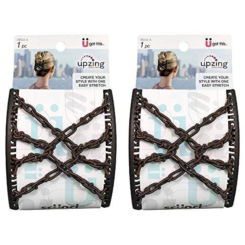 頬盗賊折るScunci Braided Upzing Double Combs Large | Easy-Stretch, Assorted Colors | 2-Units [並行輸入品]
