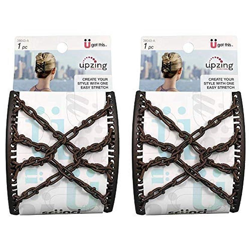 タブレットトーナメント荒らすScunci Braided Upzing Double Combs Large | Easy-Stretch, Assorted Colors | 2-Units [並行輸入品]