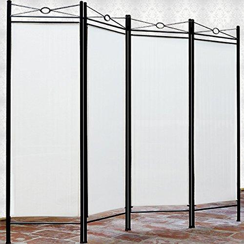 Biombo Lucca Crema Separador de Espacios Pared Divisoria Pared Española 4 partes 180 x 163 cm