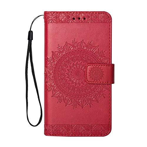 Sweau hoes voor iPhone XR portemonnee Vintage bloemenpatroon in bookstyle beschermhoes, rood