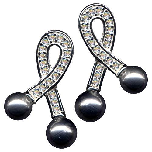 Pendientes de estilo modernista con perlas grises, estilo Art Nouveau, color blanco, plata de ley 925, circonitas, cristales brillantes, plata de ley 925, amor juvenil, estilo juvenil, lazo blanco