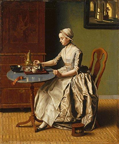Het Museum Outlet - Jean-Etienne Liotard - Een Vrouwe gieten Chocolade (La Chocolatière) - Poster Print Online Kopen (40 X 50 Inch)
