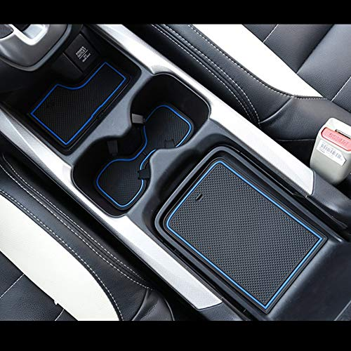 Marchfa Door Liners Honda CRV Rubber Cup Accessories, Custom Fit Cup Holders Center Console Mats for 2019 2018 2017 Honda CRV (Pack of 21,Blue)