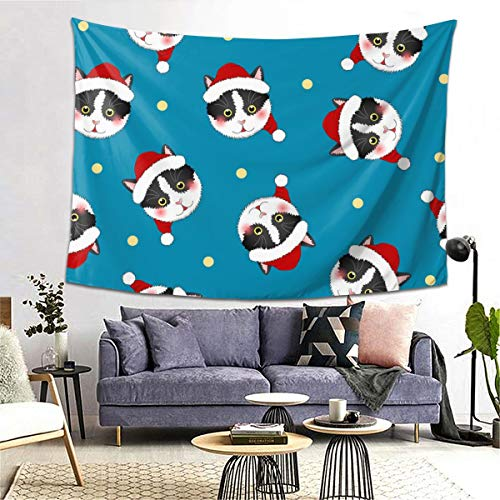 bneegxg Tapestries Décor Beach Blanket Black White Cat Santa Claus On Indigo Blue for Bedroom Living Room Dorm 39.4(H) X59.1(W)