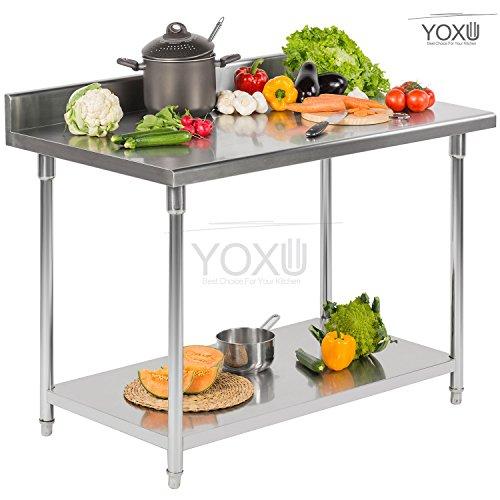 Superficie de trabajo, Mesa profesional de acero inoxidable para cocina y Catering 1500x700x850