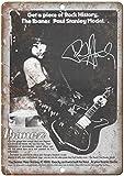Ibanez Guitar Paul Stanley Cartel de chapa vintage, cartel de cartel de metal, placa de pintura de hierro retro, decoración de pared artística, 12 × 8 pulgadas