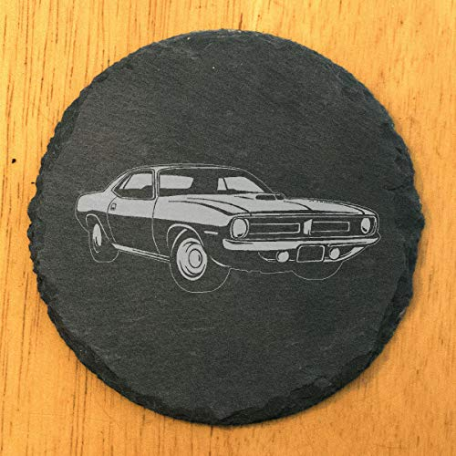 Plymouth Barracuda Coasters - Round Slate - set of 4