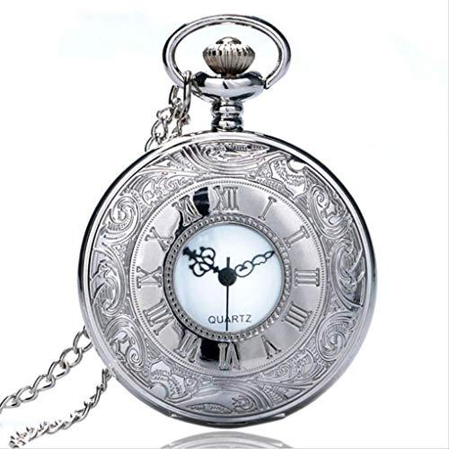 KUANDARGG Hombres Mujeres Estilo Antiguo Steampunk Número Romano Estuche Reloj De Bolsillo Collar De Plata Reloj De Bolsillo Reloj De Cuarzo Colgante Vintage, Silver