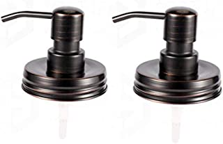 The Southern Jarring Co. Stainless Steel Mason Jar Liquid Soap Dispenser Lids with Oil-Rubbed Bronze Finish - Rustproof - Modern Farmhouse Soap Pumps for Kitchen and Bathroom (2-Pack)