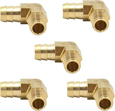 1//2 Barb x 3//8 NPT Male Elbow 90 Degree Brass Hose Barbed Adapter Fitting 5pcs