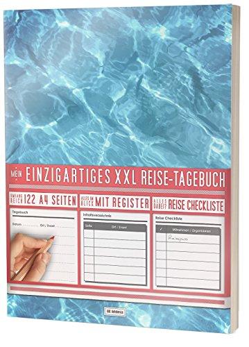 """Mein Einzigartiges XXL Reisetagebuch: 122 Seiten, Register, Kontakte / Neue Auflage mit Reise Checkliste / PR401 """"Swimmingpool"""" / DIN A4 Soft Cover"""