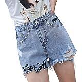 Saoye Fashion Las Mujeres De Encaje De La Borla Cintura De Ropa Alta Pantalones Cortos De Mezclilla Agujero Jeans Jeans Pantalones Calientes con Inscripción Slim Fit Pantalones Casuales