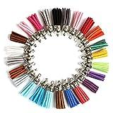 Naler - 120 colgantes de borla de piel sintética de ante con tapas, 38 mm, para llavero, decoración, accesorios de bricolaje, 24 colores