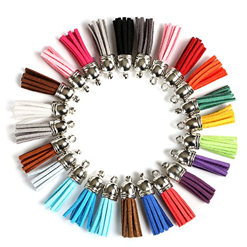 Naler Leather Tassel Pendants Faux Suede Tassel with Caps 120 Pieces 38 mm for Key Chain Straps DIY Accessories, 24 Colors