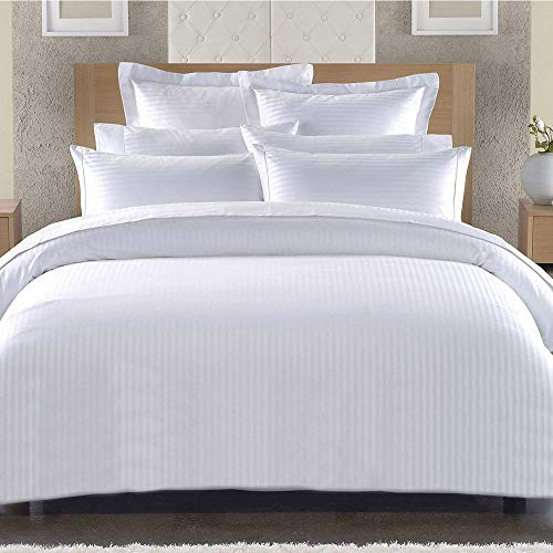 Lausonhouse Classic 300TC Cotton Sateen Stripe Duvet Cover Set. (King,White)