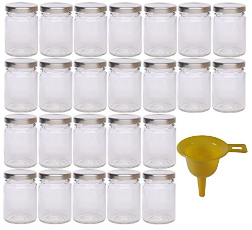 24 kleine Marmeladengläser 106 ml mit silbernem Deckel/für Konfitüren, Marmeladen, Gelees, Pestos, Senf etc. inkl. 1 Einfülltrichter