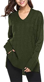 Women Sweaters Long Sleeves V Neck Knit Jumpers Winter Casual Basic Solid Color Loose Knitwear Autumn Warm Elegant Knit Pu...