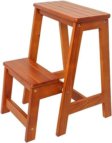 HTDZDX Chaises multifonctionnelles de Tabouret d'échelle en Bois Solide de Tabouret d'échelle changeant des chaises Pliantes avec 2 étapes (Couleur    3)