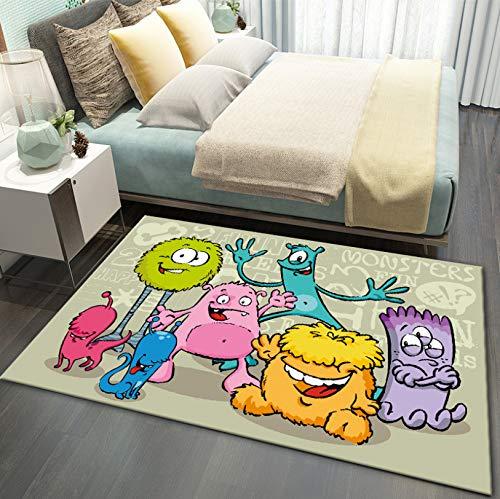 QNYH Alfombra Estampada Microbiológica De Dibujos Animados Coloridos, Alfombra De Piso Antideslizante Rectangular Junto A La Cama del Dormitorio, Alfombra para Niños Pequeños 120cmx170cm
