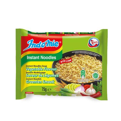 [ 40x 75g ] IndoMie Instant-Nudelsuppe, Gemüsegeschmack mit Limette / with Lime + ein kleines Glückspüppchen - Holzpüppchen