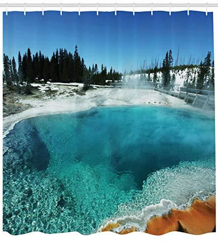 Piscina Cortina de Ducha Impermeable Decorativa con impresión HD, Adecuada para baño, 12 Ganchos Gratis, 150X180cm del Bosque nevado de Yellowstone