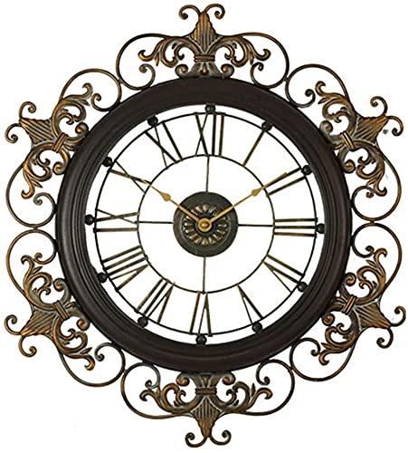Decoraciones de pared, Reloj de pared de metal, reloj de pared silencioso de hierro forjado de estilo europeo, para hogar, sala de estar, cocina, decoración de pared de den (Tamaño: 47.5x53.3x3.5cm)