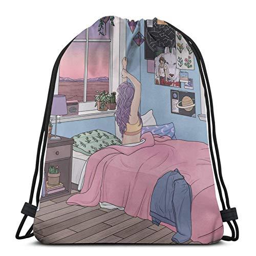 Early Rise Drawstring Backpack Gym Sack Pack Solid Cinch Pack Sinch Sack Sport String Bag