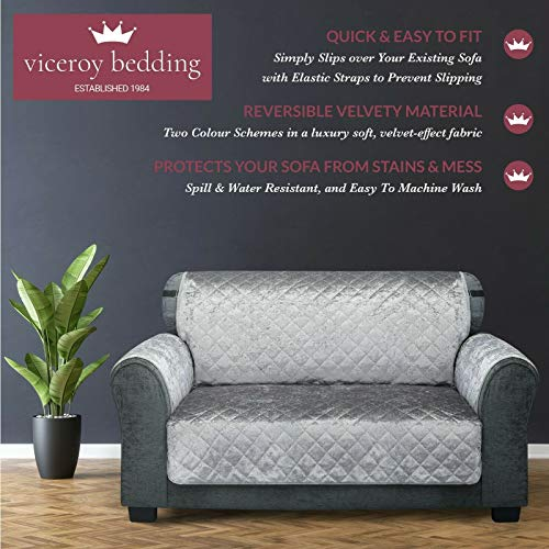 viceroy bedding VELVET Quilted Reversible Slipcover Sofa Cover Furniture Protector from Pets Kids Couch Throw Water Repellent with Anti Slip ELASTIC STRAP Washable (Silver Grey, 3 Seater)