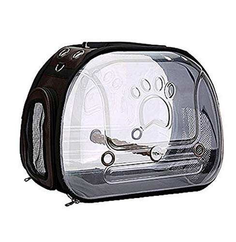 HMMJ Vogel Trägerkäfig Reisetasche, Vogel Travel Cage PVC Transparent Breath Parrot Handtasche mit einem Holzstab for Haustier-Papageien-Katze-Kaninchen (Color : Brown)