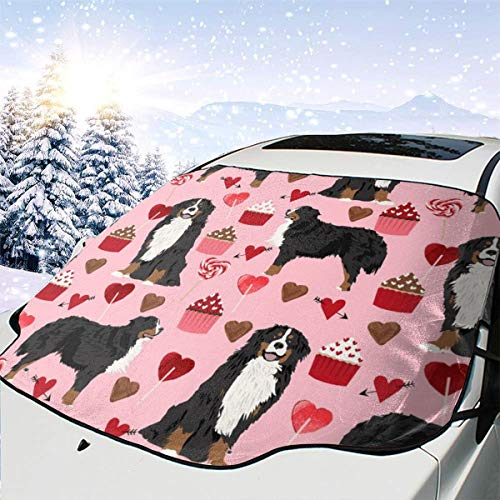 SUV/'s Love Dogs New Shorts Bernese Mountain Dog Dog Fabric Love Valentines Day Design Blossom Car Front Windshield Cover Foldable Sunshade Fits Most Cars Trucks