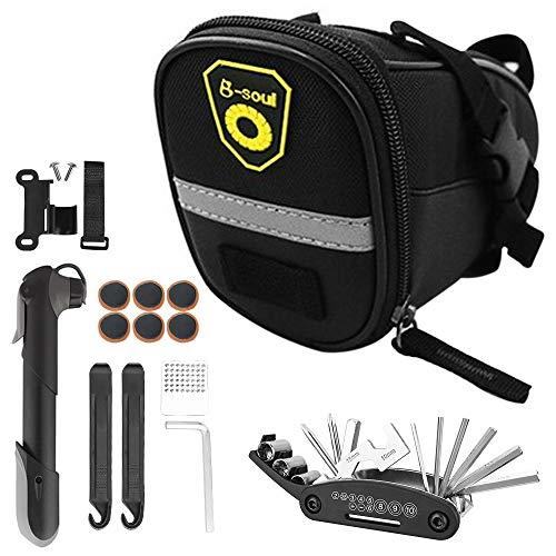 IWILCS Fahrrad Satteltasche mit Fahrradpumpe und Fahrrad Reparatur Set Multitool Fahrrad Reparatur Set 16-in-1 Fahrrad Multitools für Mountainbikes und Rennräder