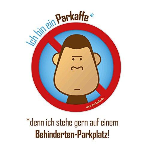 parkaffe.de 50 Wasserfeste Sticker Gegen Falschparker auf Behinderten-Parkplatz, PARKAFFE Aufkleber für die Windschutzscheibe