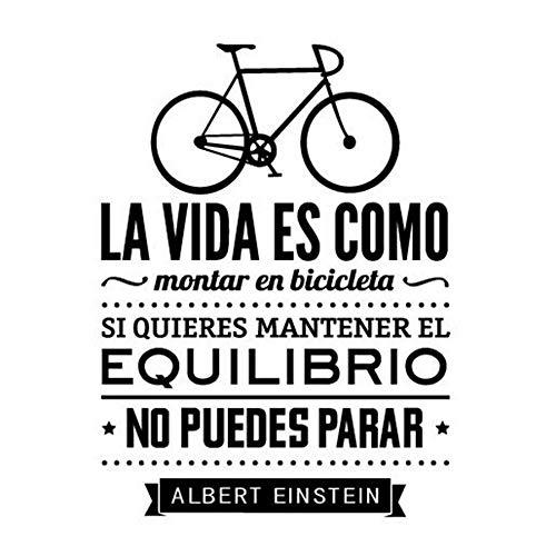 Pegatinas De Pared En Español Decoración Del Hogar La Vida Es Como Una Bicicleta Vinilo Adhesivo De Pared Con Texto 78X56Cm