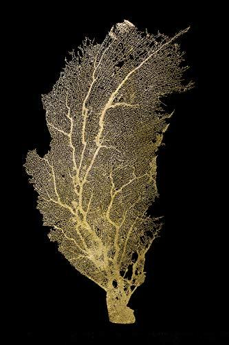 | Acrylglasbild mit Blattgold | Wandbild Glasbild Acrylbild Rahmenlos | Pflenze | Druck auf Acrylglas | Goldveredelung | Größe: 40x60 cm