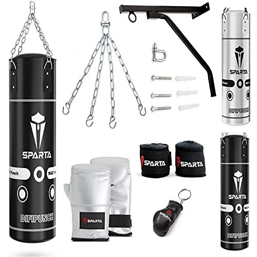 Punch Bag Boxing Training, Filled 5ft 4ft Heavy Duty set, Wall Bracket Punching Gloves Steel Chain, Kickboxing MMA Grappling Muay Thai Karate BJJ, Adult Home Gym Fitness (5FT)