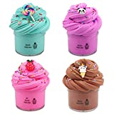 Kit 4 Pack Butter Slime, con Pink Dragon Fruit Slime, Blue Candy Slime, Panda e Chocolate Ice Cream Slime Super Soft & Non-Sticky Clay Cloud Slime