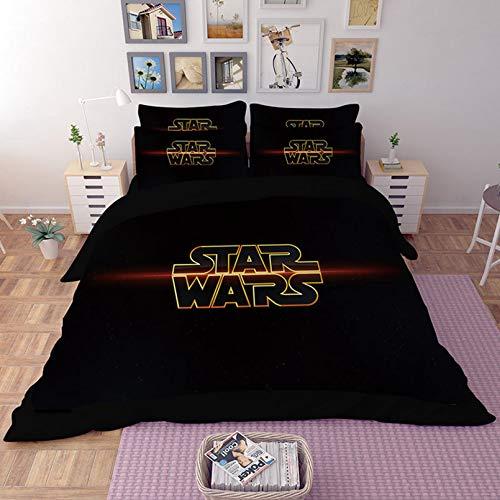 BATTE Juego de funda de edredón de microfibra con estampado de personajes de Star Wars, funda de edredón y funda de almohada para niños (24,220 x 240 cm)