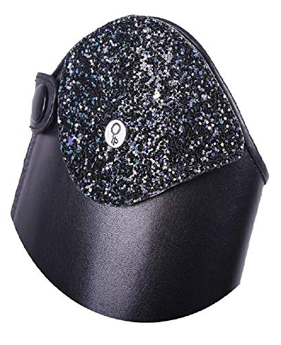 QHP austauschbarer Dressurbogen/Schaftoberteil für Reitstiefel Romy Leder mit Klettverschluss Verschiedene Designs (35-37, Glitz Navy)
