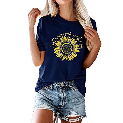 Camiseta de Mujer Tops Verano de Manga Corta con Cuello en V Camisetas básicas Casual Algodón con Cuello Redondo básica Corta con Estampado de Girasol Verano de Moda Camiseta de Manga Corta Suelta