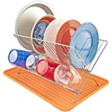 Dish Drying Rack w/ Folding Drainer, Orange - Southern Homewares - Kitchen Utensil Cleaning Set for Plates, Bowls, Cups