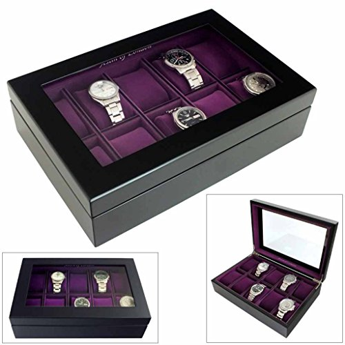 Astin Of London Limited Edition 10 Watch Wooden Display Case with Java Black Finish and Purple Velour Interior